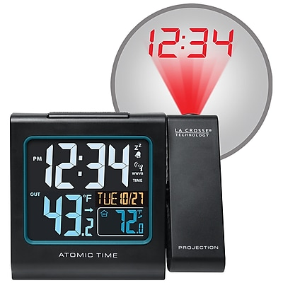 La Crosse Technology Color Projection Alarm clock with Outdoor Temperature and Charging USB port (616-146)