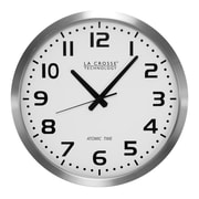 La Crosse Technology 16 Inch Stainless Steel Atomic Clock, White Dial (WT-3161WH)
