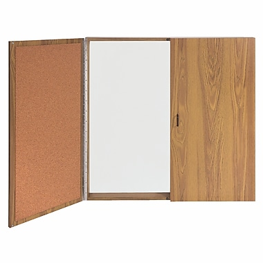 Ghent Magnetic Porcelain Whiteboard Cabinet With Cork Interior Doors