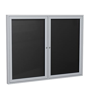 Ghent 2 Door Enclosed Letter Board with Satin Aluminum Frame