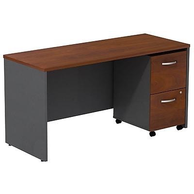 Bush Business Furniture Westfield Desk Credenza with 2 Drawer Mobile Pedestal, Hansen Cherry (SRC029HCSU)
