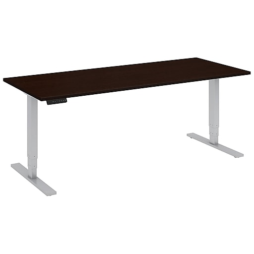 Move 80 Series by Bush Business Furniture 72W x 30D Height Adjustable Standing Desk, Mocha Cherry, Installed (HAT7230MRKFA)