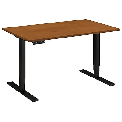 Move 80 Series by Bush Business Furniture 48W x 30D Height Adjustable Standing Desk, Natural Cherry, Installed (HAT4830NCBKFA)