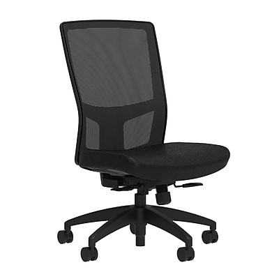 Workplace Series 500 Fabric Task Chair, Black, Integrated Lumbar, Armless, Synchro Seat Slide, Partially Assembled