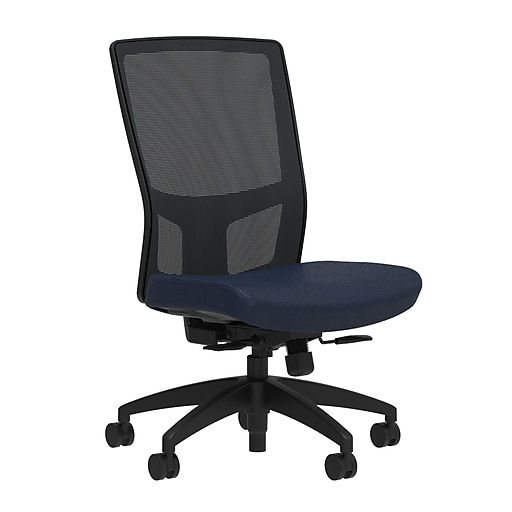 Workplace2.0™ 500 Series Fabric Task Chair, Navy, Integrated Lumbar, Synchro Seat Slide, Armless