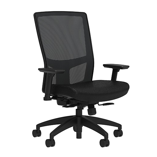 Workplace2.0™ 500 Series Fabric Task Chair, Black, Integrated Lumbar, 2D Arms, Synchro Seat Slide