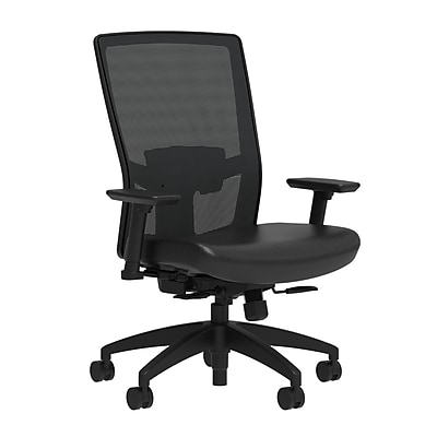 Workplace Series 500 Vinyl Task Chair, Black, Adjustable Lumbar, 2D Arms, Synchro Seat Slide, Partially Assembled