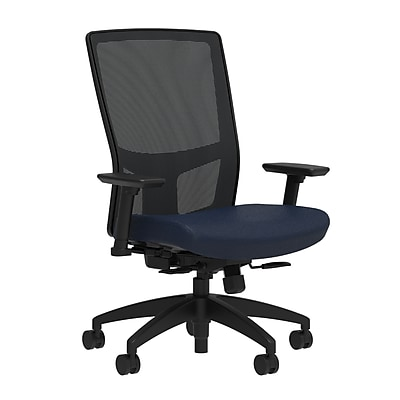 Workplace Series 500 Fabric Task Chair, Navy, Integrated Lumbar, 2D Arms, Synchro Seat Slide