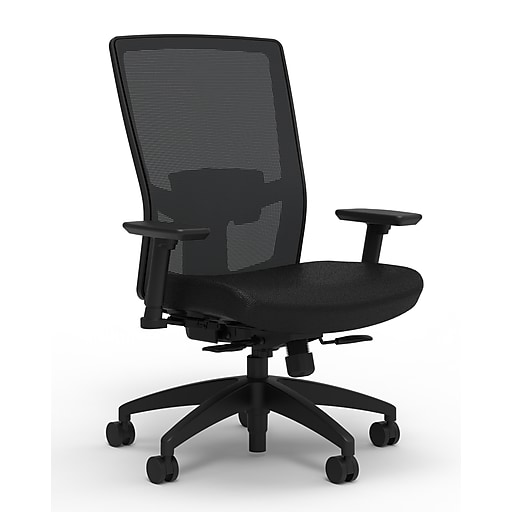 Workplace2.0™ 500 Series Fabric Task Chair, Black, Adjustable Lumbar, 2D Arms, Synchro Seat Slide