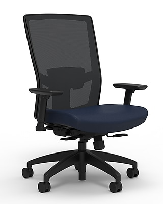 Workplace Series 500 Fabric Task Chair, Navy, Adjustable Lumbar, 2D Arms, Synchro Seat Slide, Partially Assembled