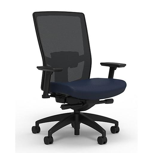 Workplace2.0™ 500 Series Fabric Task Chair, Navy, Adjustable Lumbar, 2D Arms, Advanced Synchro Tilt