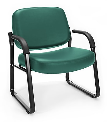 OFM Big and Tall Vinyl Guest/Reception Chair, Teal