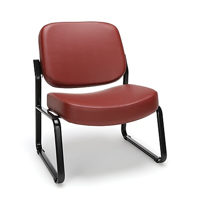 OFM Big and Tall Vinyl Armless Guest/Reception Chair, Wine
