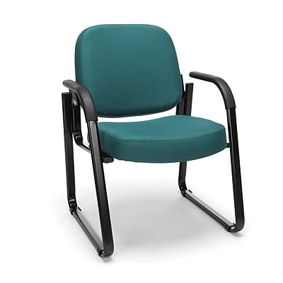 OFM Model 403 Fabric Guest and Reception Chair with Arms and Extra Thick Cushion, Teal, (403-802)