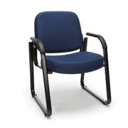 OFM Guest and Reception Chair with Arms and Extra Thick Cushion, Fabric, Navy (403-804)