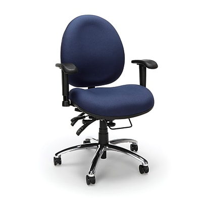 OFM 24 Hour Big and Tall Ergonomic Computer Swivel Task Chair with Arms, Fabric, Blue, (247-202)