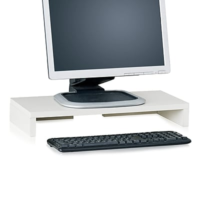 Way Basics Eco Friendly Computer Monitor Stand, White- Lifetime Guarantee
