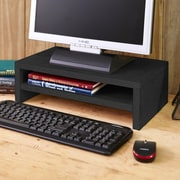 Way Basics Eco Friendly 2-Shelf Computer Monitor Stand Riser, Black Wood Grain- Lifetime Guarantee