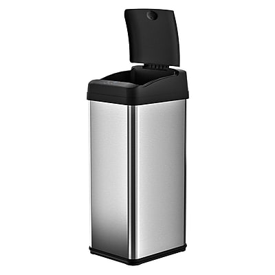 iTouchless® Square Extra-Wide Lid Opening Touchless Trashcan® MX, 13 gal.