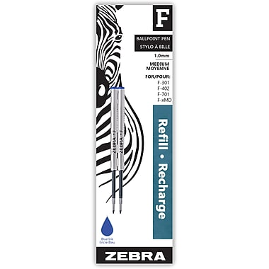 Zebra F-Refill Medium Point, 2/Pack, Blue