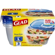 Glad Food Storage Containers, Deep Dish, 64 Ounce, 3 Count (CLO 70045)