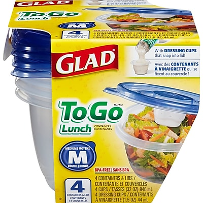 Glad Food Storage Containers, To Go Lunch, 32 Ounce, 4 Count 134347