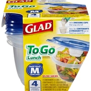 Glad® To Go Lunch Containers, 32 Oz., 4/Pack (78404)