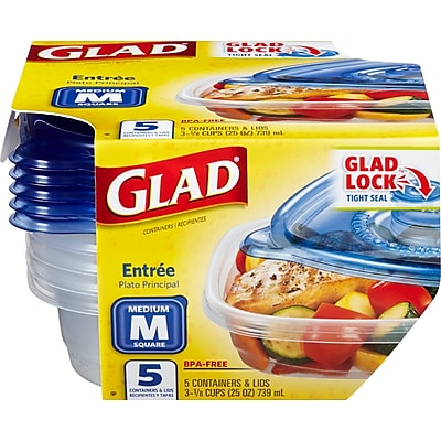 Glad Food Storage Containers, Entree, 25 Ounce, 5 Count (60795)