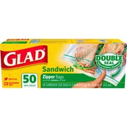 Glad® Zipper Sandwich Bags, 50 Bags/Box (57263)