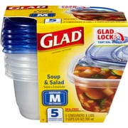 Glad® Food Storage Containers, Soup and Salad, 24 Ounce, 5 Count, 6pk/CS