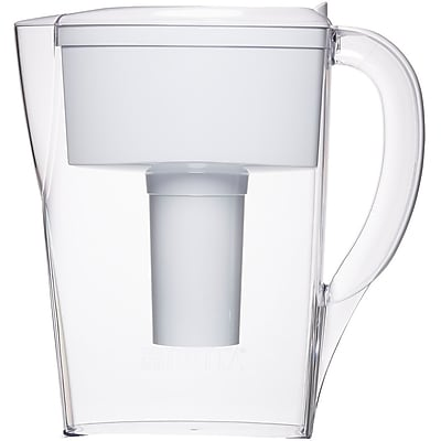 Brita 6 Cup Space Saver BPA Free Water Pitcher with 1 Filter, White 1739074