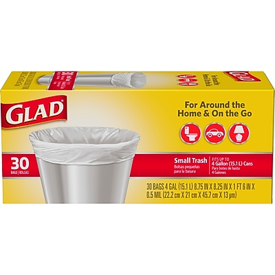 Glad Small Trash Bags - 4 Gallon - 30 Count (78817)