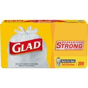 Glad Quick-Tie Tall Kitchen Trash Bags - 13 Gallon - 200 Count (15931)