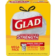 Glad® 13 gal Tall Kitchen Drawstring Bag, 120 Count