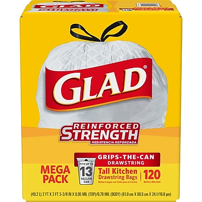 Glad Tall Kitchen Drawstring Trash Bags - 13 Gallon - 120 Count - 3 Boxes/Case (78564)