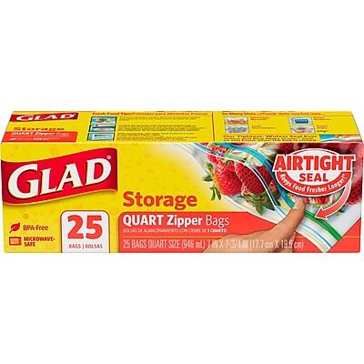 Glad Zipper Food Storage Plastic Bags - Quart - 25 Count (55052)