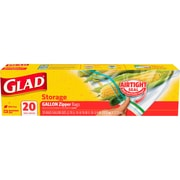 Glad Zipper Food Storage Freezer Bags - Gallon - 20 Count (55050)