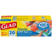 Glad® Zipper Freezer Bags, Quart, 20 Bags/Box (57035)