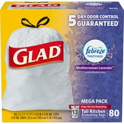 Glad® OdorShield® Tall Kitchen Drawstring Trash Bags, Lavender, 13 Gallon, 80/CT