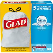 Glad® OdorShield® Tall Kitchen Drawstring Trash Bags, Fresh Clean, 13 Gallon, 80 Count