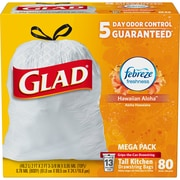 Glad OdorShield Tall Kitchen Drawstring Trash Bags, Febreze Hawaiian Aloha Scented, 13 Gallon, 80 Count (78901)