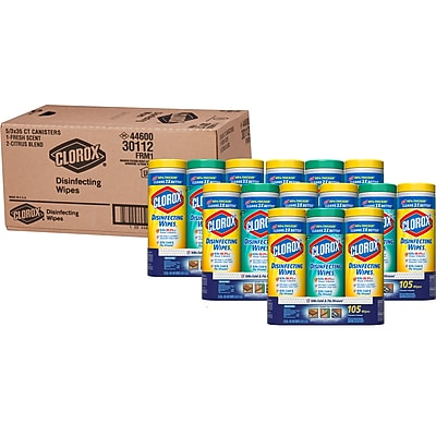 Clorox® Disinfecting Wipes Value Pack, Fresh Scent and Citrus Blend™, 35 Count Canister, 3 Canister/Pack, 105 Wipes/Pack