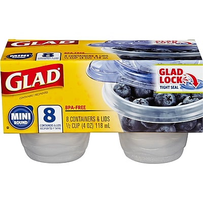 Glad Food Storage Containers, Mini Round, 4 Ounce, 8 Count (70240)