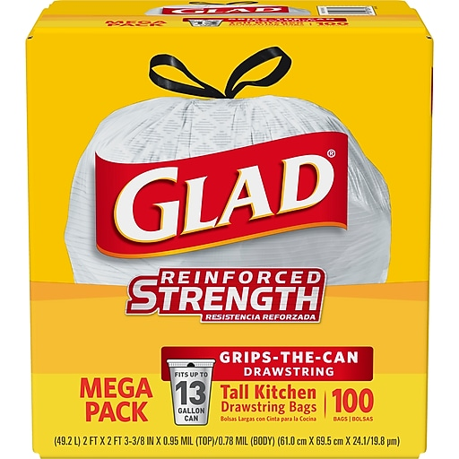 4-Pack Glad Tall Kitchen Drawstring Trash Bags 13 Gallon, 100 Bags/Box