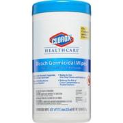 "Clorox Healthcare® Bleach Germicidal Wipes, White, 6 3/4""(W) x 9""(L), 70/Container"