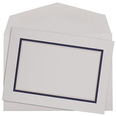 JAM Paper® Colorful Border Stationery Set, 104 Small Cards and 100 Envelopes, Navy Blue (2237719078)