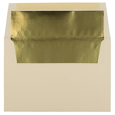 JAM Paper® A8 Foil Lined Envelopes, 5.5 x 8.125, Ecru Ivory with Gold Lining, 1000/carton (332417064B)