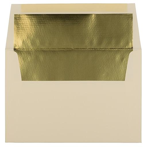 JAM Paper® A8 Foil Lined Invitation Envelopes, 5.5 x 8.125, Ecru with Gold Foil, Bulk 250/Box (332417064H)