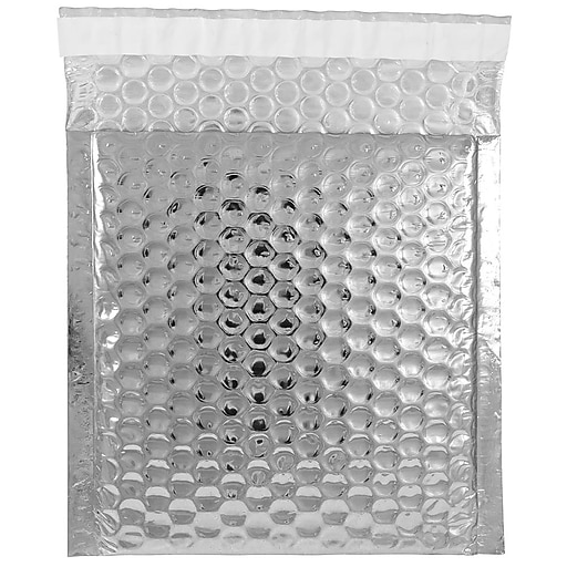 JAM Paper® Bubble Padded Mailers with Peel and Seal Closure, CD Size, 6 x 6.5, Silver Metallic, 12/Pack (2744431)