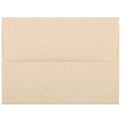 JAM Paper® A2 Invitation Envelopes, 4 3/8 x 5 3/4, Parchment Brown Recycled, 250/box (53447H)